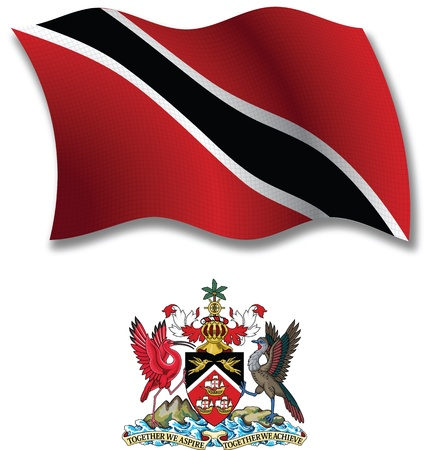 trinidad and tobago shadowed textured wavy flag and coat of arms against white background, vector art illustration, image contains transparency transparency Illustration