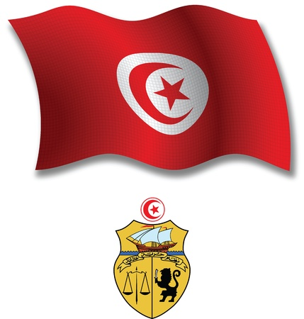 tunisia shadowed textured wavy flag and coat of arms against white background, vector art illustration, image contains transparency transparency Иллюстрация