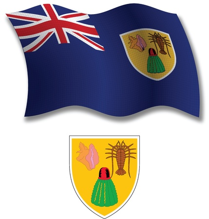 turks and caicos islands shadowed textured wavy flag and coat of arms against white background, vector art illustration, image contains transparency transparency