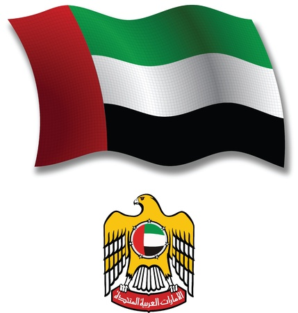 white coat: united arab emirates shadowed textured wavy flag and coat of arms against white background, vector art illustration, image contains transparency transparency