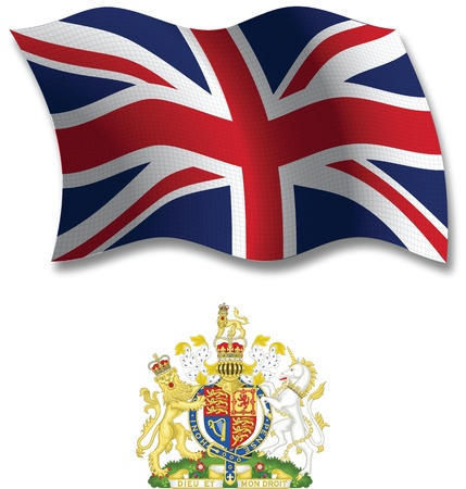 united kingdom shadowed textured wavy flag and coat of arms against white background, vector art illustration, image contains transparency transparency Vectores