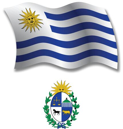 uruguay shadowed textured wavy flag and coat of arms against white background, vector art illustration, image contains transparency transparency