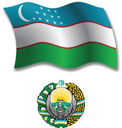 uzbekistan: uzbekistan shadowed textured wavy flag and coat of arms against white background, vector art illustration, image contains transparency transparency