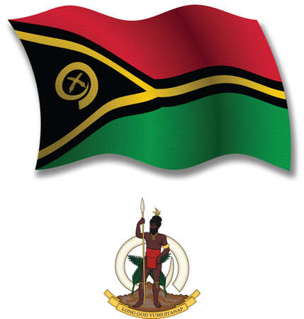 vanuatu shadowed textured wavy flag and coat of arms against white background, vector art illustration, image contains transparency transparency Illustration