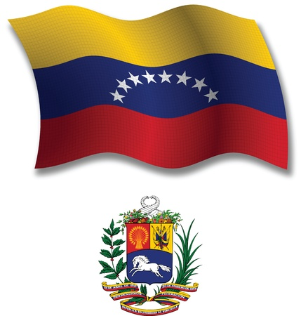 venezuela shadowed textured wavy flag and coat of arms against white background, vector art illustration, image contains transparency transparency