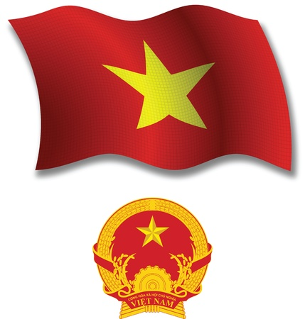 vietnam shadowed textured wavy flag and coat of arms against white background, vector art illustration, image contains transparency transparency