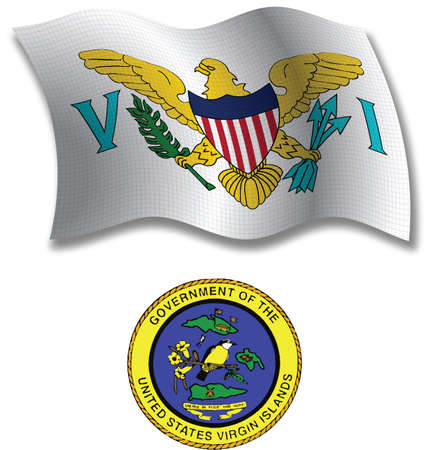 virgin islands shadowed textured wavy flag and coat of arms against white background, vector art illustration, image contains transparency transparency Vector