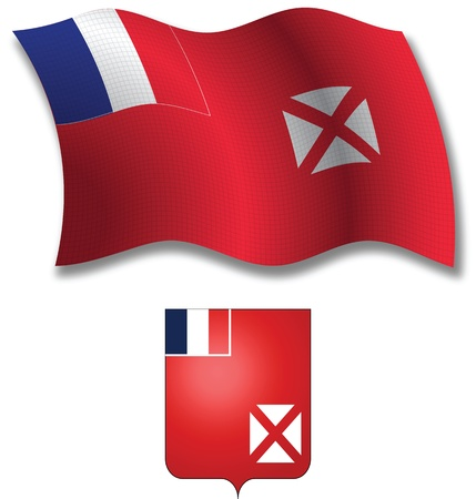 wallis and futuna shadowed textured wavy flag and coat of arms against white background, vector art illustration, image contains transparency transparency Illustration