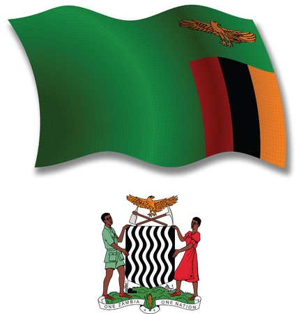 white coat: zambia shadowed textured wavy flag and coat of arms against white background, vector art illustration, image contains transparency transparency