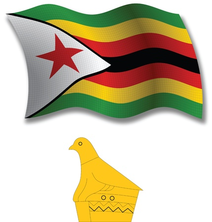 zimbabwe shadowed textured wavy flag and coat of arms against white background, vector art illustration, image contains transparency transparency Illustration