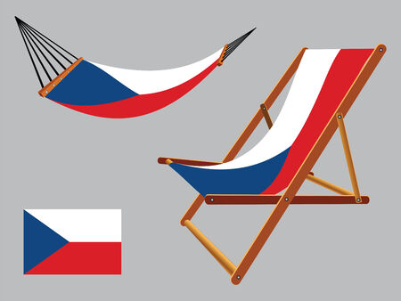 czech republic hammock and deck chair set against gray background, abstract vector art illustration