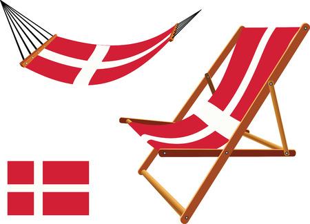 hanged: denmark hammock and deck chair set against white background, abstract vector art illustration Illustration