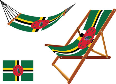 dominica hammock and deck chair set against white background, abstract vector art illustration Çizim