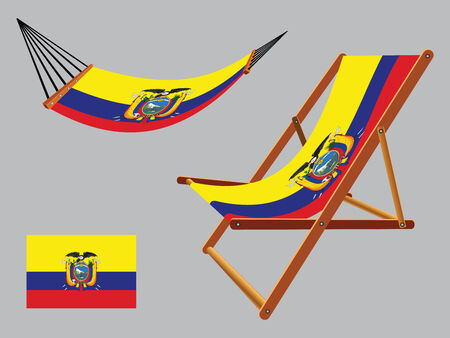 ecuador hammock and deck chair set against gray background, abstract vector art illustration  イラスト・ベクター素材