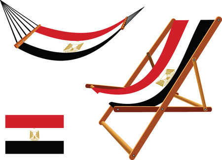 egypt hammock and deck chair set against white background, abstract vector art illustration  イラスト・ベクター素材