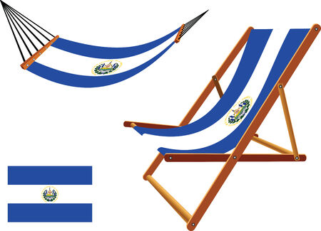 el salvador hammock and deck chair set against white background, abstract vector art illustration Vector