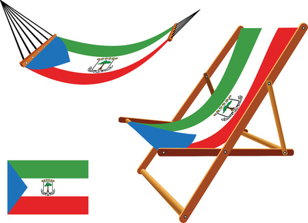 guinea equatoriale: equatoriale guinea amaca e sedia a sdraio insieme contro sfondo bianco, illustrazione arte astratta vector Vettoriali