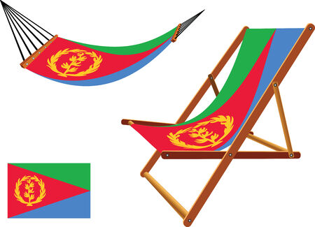 eritrea hammock and deck chair set against white background, abstract vector art illustration