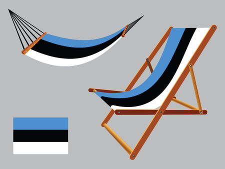 エストニアのハンモック、デッキチェアー抽象的なベクトル アート イラスト灰色の背景に設定