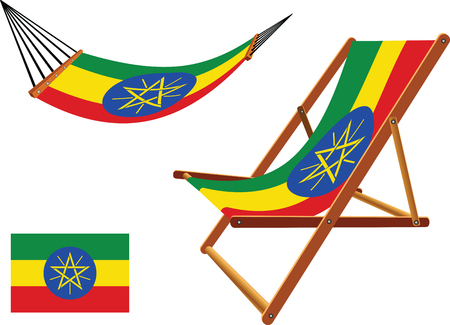 ethiopia abstract: ethiopia hammock and deck chair set against white background, abstract vector art illustration Illustration