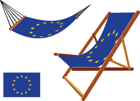 european union hammock and deck chair set against white background, abstract vector art illustration
