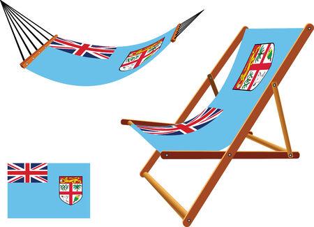 fiji: fiji hangmat en ligstoel set tegen een witte achtergrond, abstract vector kunst illustratie Stock Illustratie