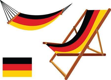 germany hammock and deck chair set against white background, abstract vector art illustration  イラスト・ベクター素材