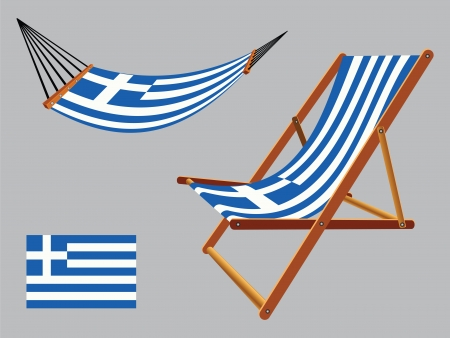 greece hammock and deck chair set against gray background, abstract vector art illustration Çizim