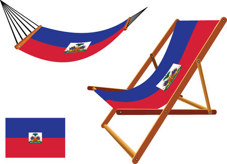 haiti hammock and deck chair set against white background, abstract vector art illustration Vector