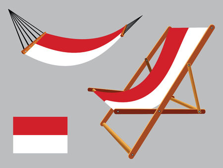 hanged: indonesia hammock and deck chair set against gray background, abstract vector art illustration Illustration