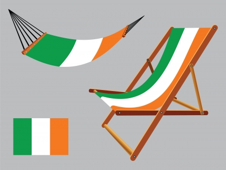 ireland hammock and deck chair set against gray background, abstract vector art illustration