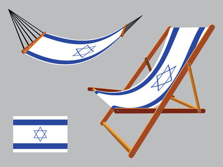 israel hammock and deck chair set against gray background, abstract vector art illustration Vector