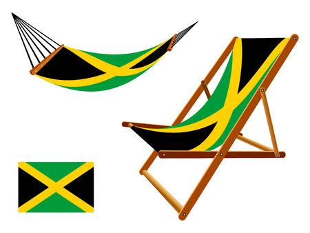 transat: jama�que hamac et chaise longue un fond blanc, vecteur abstract art illustration Illustration