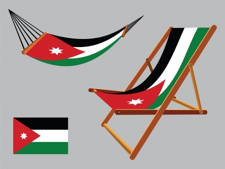 hanged: jordan hammock and deck chair set against gray background, abstract vector art illustration