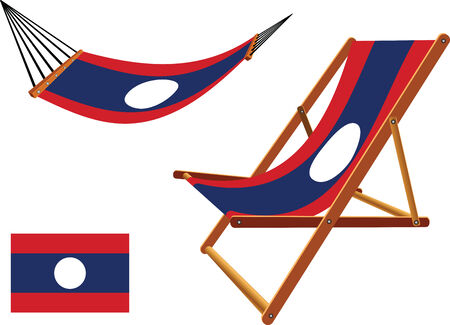 laos hammock and deck chair set against white background, abstract vector art illustration  イラスト・ベクター素材