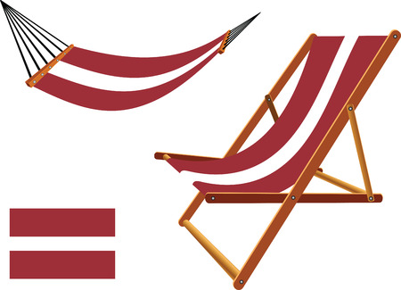 hanged: latvia hammock and deck chair set against white background, abstract vector art illustration Illustration