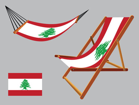 lebanon hammock and deck chair set against gray background, abstract vector art illustration Vector