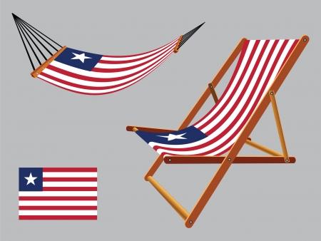 transat: lib�ria hamac et chaise longue un fond gris, illustration vectorielle art abstrait
