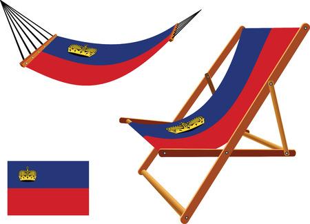hanged: liechtenstein hammock and deck chair set against white background, abstract vector art illustration Illustration