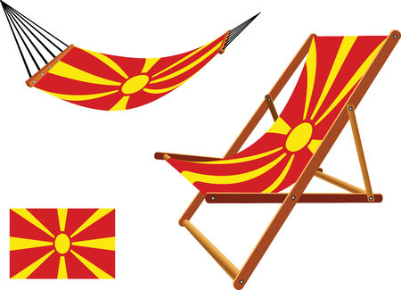 macedonia hammock and deck chair set against white background, abstract vector art illustration Vector