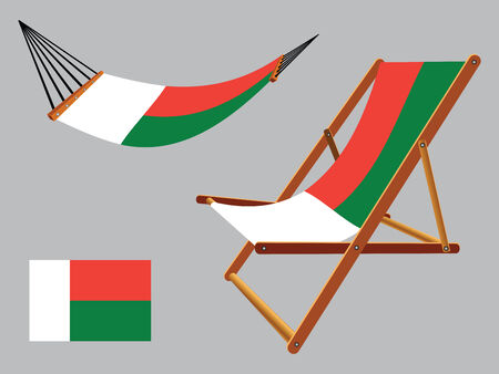madagascar hammock and deck chair set against gray background, abstract vector art illustration Vector