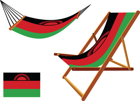 hanged: malawi hammock and deck chair set against white background, abstract vector art illustration Illustration