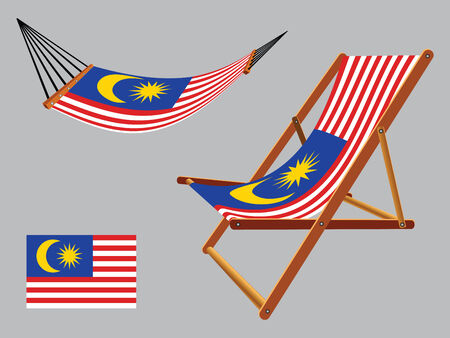 malaysia hammock and deck chair set against gray background, abstract vector art illustration Vector