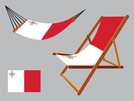 malta hammock and deck chair set against gray background, abstract vector art illustration 일러스트