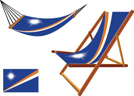 transat: �les Marshall hamac et chaise longue mis sur fond blanc, vecteur abstract art illustration