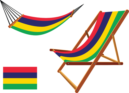 mauritius hammock and deck chair set against white background, abstract vector art illustration Vector