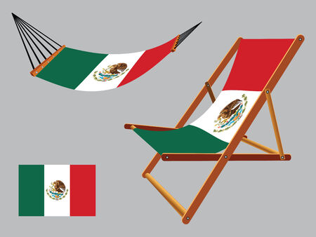 hanged: united mexican states hammock and deck chair set against gray background, abstract vector art illustration