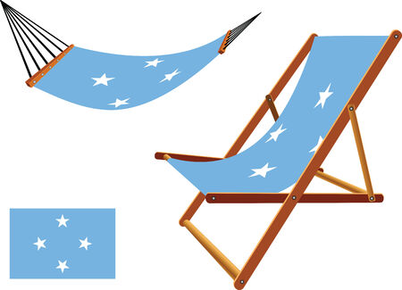 micronesia hammock and deck chair set against white background, abstract vector art illustration Vector
