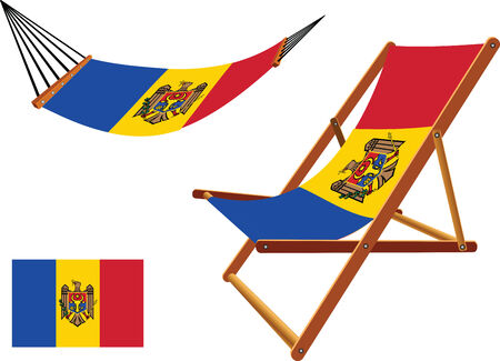 moldova hammock and deck chair set against white background, abstract vector art illustration Illustration