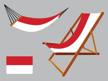 monaco hammock and deck chair set against gray background, abstract vector art illustration Vector